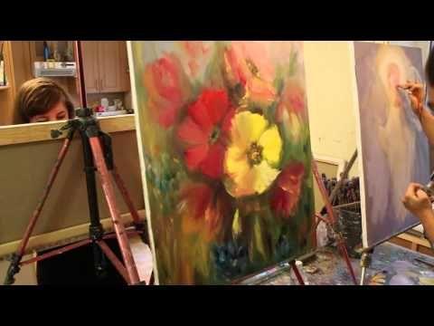 Видео урок, в котором Макс Скоблинский пишет цветы мастихином.