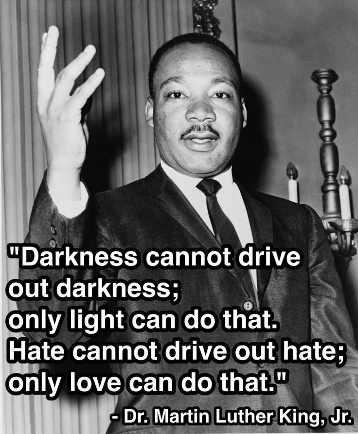 Darkness cannot drive out darkness; only light can do that. Hate cannot drive out hate; only love can do that. Martin Luther King Jr.