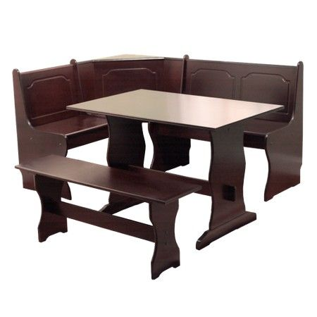 3 Piece Nook Dining Set Wood/Espresso - TMS : Target