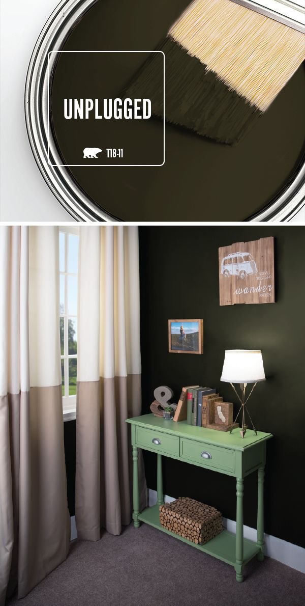 Make a bold statement with the interior design of your home. BEHR Paint in Unplugged is a dramatic shade of olive green from the BEHR 2018 Color Trends collection. Use bright white, neutral gray, and light green accent colors to create balance with this dark shade.