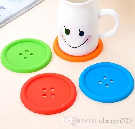 Cute Colorful Silicone Button Coaster Cup Cushion Holder Drink Placemat Mat Home