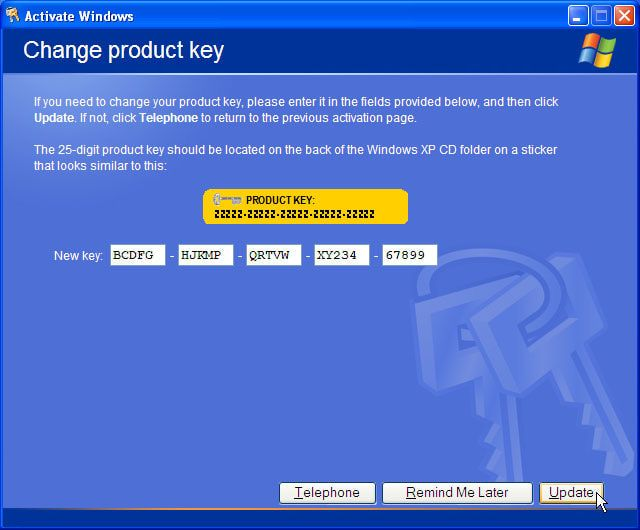 cd key windows xp