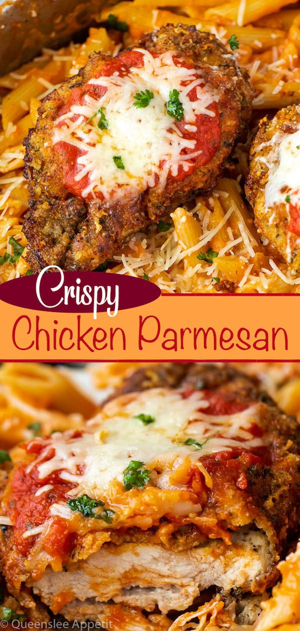 Perfectly Crispy Chicken Parmesan Topped With A Rich Homemade Marinara Sauce Melted Moz Crispy Chicken Parmesan Recipe Chicken Parmesan Recipes Crispy Chicken