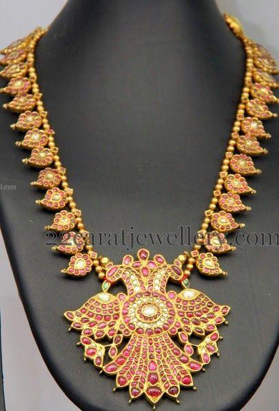 Jewellery Designs: Temple Design Parrot Mala