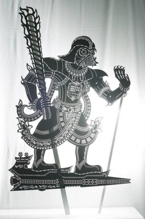 "Darth Vader in Wayang Kulit form! |   ""Peperangan Bintang"": Star Wars in shadow puppet format, a work-in-progress project by Tintoy Chuo  #malaysia"