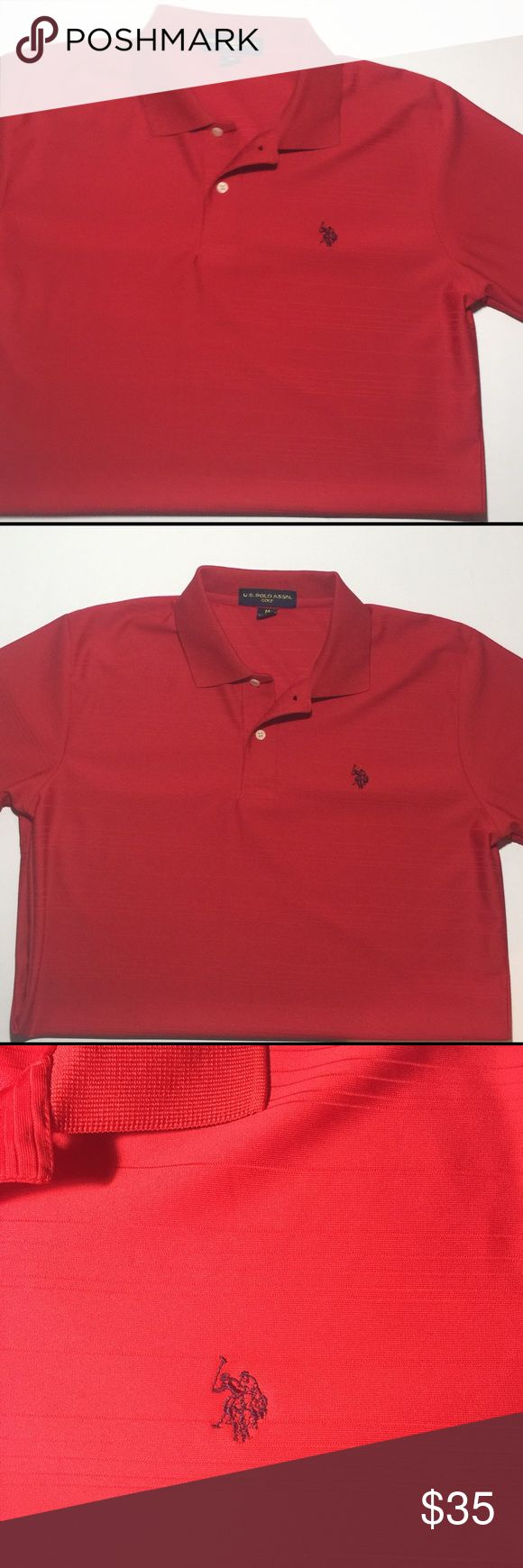 US Polo Assn. Red Men's Short Sleeve Golf Shirt This iconic relaxed-fitting polo shirt is crafted from durable, breathable cotton mesh and finished with US Polo's signature pony embroidery. * Ribbed polo collar * Applied two-button placket * Short sleeves with ribbed armbands * Uneven vented hem keeps shirt in place when tucked and ensures greater range of motion * Cotton * Machine wash * Imported U.S. Polo Assn. Shirts Polos