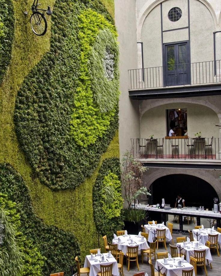 Keeping it green with a giant vertical garden   Stunning restaurant designed by Fernando Ortiz Monasterio.