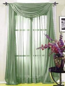 new 4 panels sage green sheer curtains drapes
