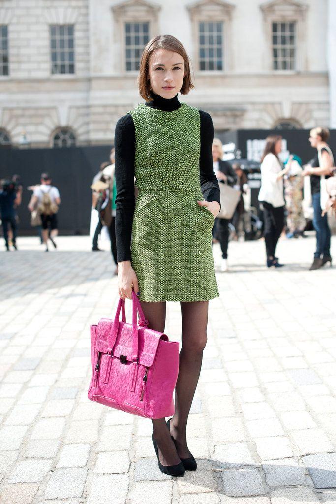 Image Via: Fashionologie: She Catliff, Tweed Dresses, Sweaters Dresses, Blue Jeans, White Chiffon Dresses, Street Style London, Pink Bags, Studs Earrings, London Fashion Weeks