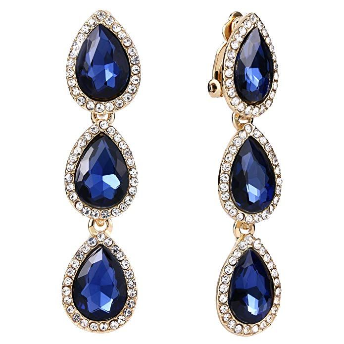 45cafb91c EleQueen Women's Gold-tone Austrian Crystal Teardrop Pear Shape 2.4 Inch  Long Clip-on Dangle Earrings Sapphire Color