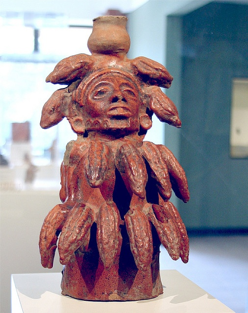ceramic statue of the goddess of cacao mayan cacao god