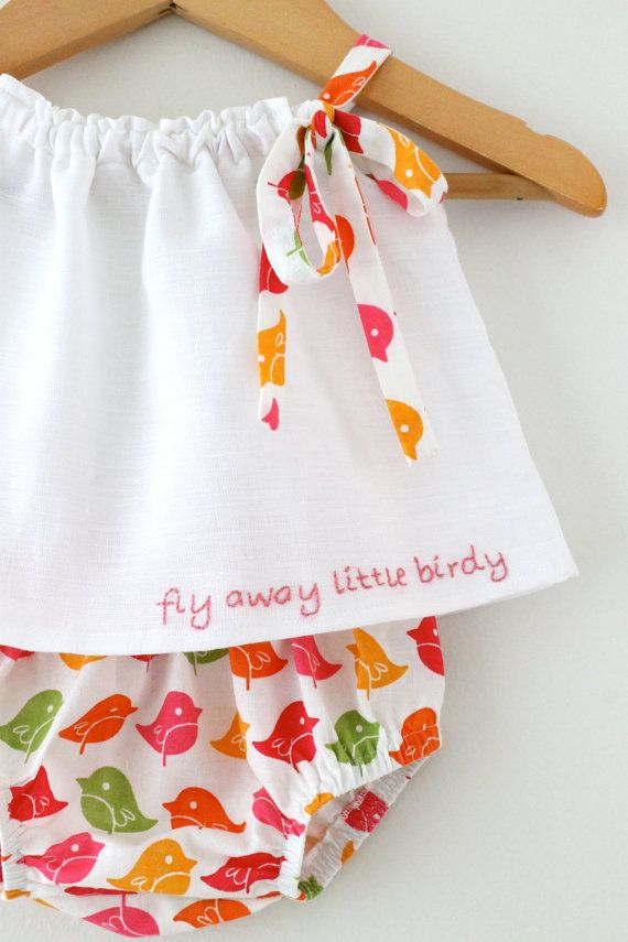 Baby Girl White Llnen Top and Bloomer Easter by ChasingMini