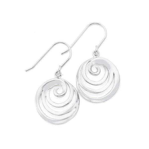 Silver Round Swirl Hook Earrings