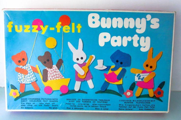 Fuzzy felt, vintage 1970s fuzzy felt, Bunny's party fuzzy felt, vintage childrens toy, retro toy. by thevintagemagpie01 on Etsy