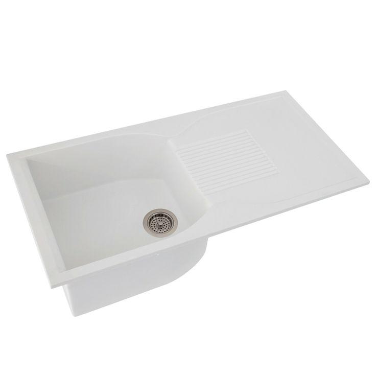 ... Granite Drop-In Sink with Drainboard - White - Kitchen Sinks - Kitchen