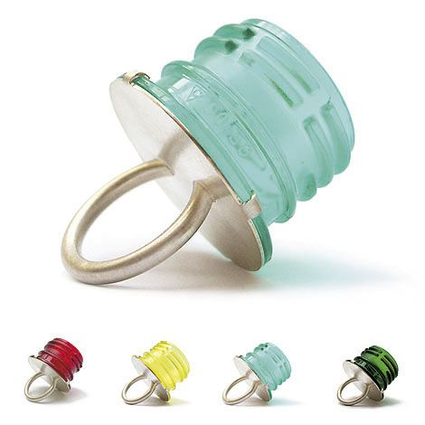 Bottle Top Rings by Alexa-Maria Klahr | Schmuck | Produkt | Design  what if they had plastic flowers coming out of them? or grass? or something else bright?                                                                                                                                                                                 Mehr