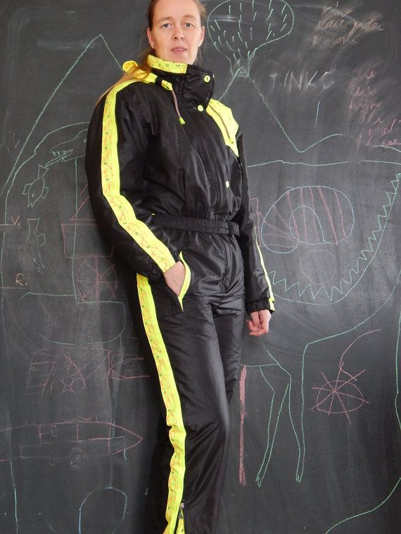 Vintage Womens Unisex Black Yellow Ski Suit Made by RedRooster1980