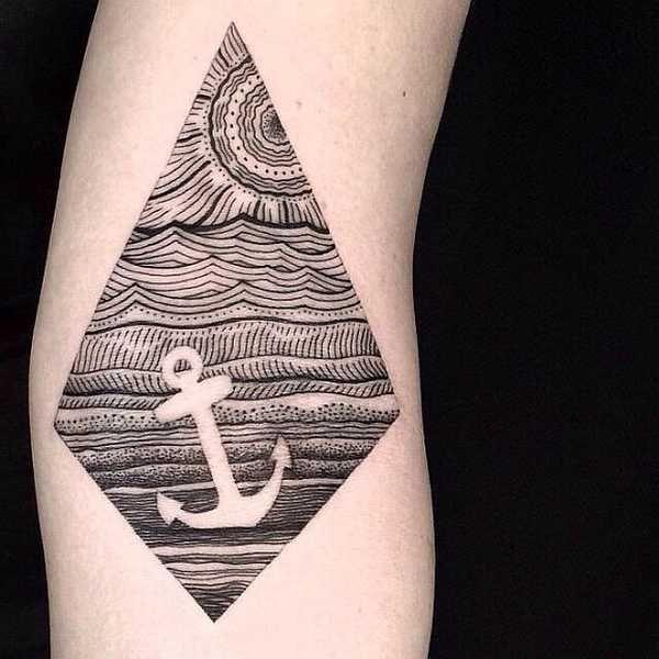 . . Artist: Neo #tattoo #ink #anchor #geometric #maritime