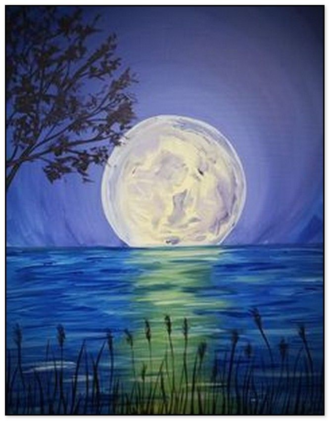 54 Easy Acrylic Painting Ideas For Beginners To Try Moon