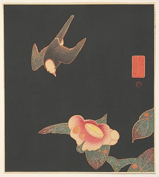 Swallow and Camellia Itô Jakuchû (Japanese, 1716–1800) Period: Meiji period (1868–1912) Date: ca. 1900 Culture: Japan Medium: Polychrome woodblock print; ink and color on paper