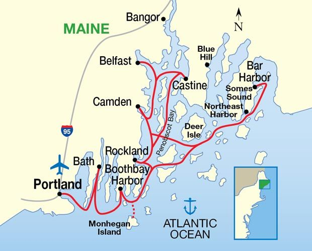 Maine Coast And Harbors Cruise Map  Vacation Spots