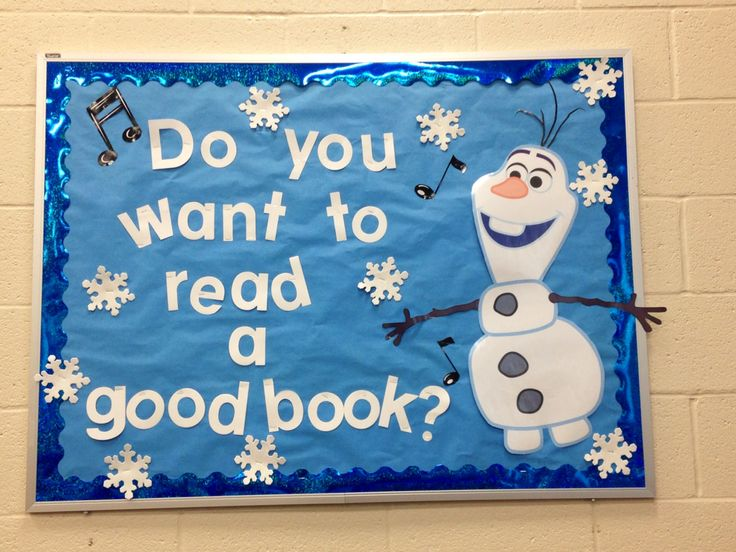 Frozen Library bulletin board Olaf reading children's books
