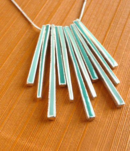 Mint & Turquoise Geometric Necklace Native Bohemian by BaubleSea