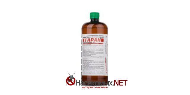 Инсектоакарицидное средство Таран, 1 л (водный концентрат эмульсии).  ДВ - Зетациперметрин 10%. Предназначено для уничтожения постельных клопов, тараканов, блох, муравьев, крысиных клещей, личинок и имаго мух и комаров. Купить средство Таран в нашем интернет-магазине.