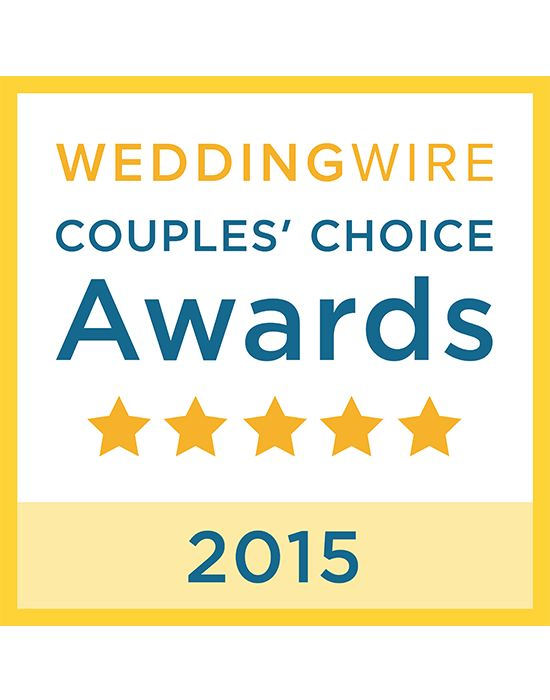 Our stellar reviews have earned us the WeddingWire Couples' Choice Awards 2015 for excellence in quality, service, responsiveness and professionalism! Thanks to all our clients who reviewed us!