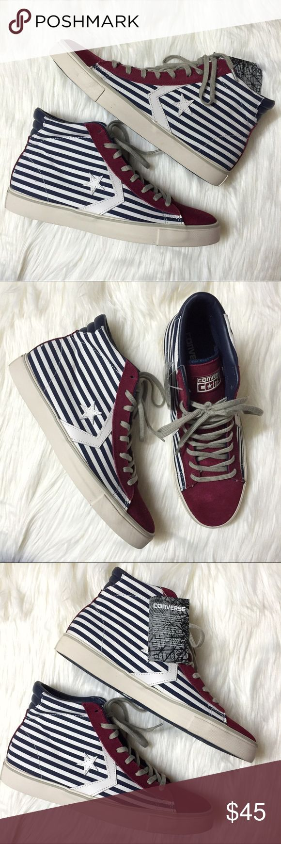 Converse Pro Leather Vulcanic Mid Sneakers Brand new with box (missing lid), men's size 9. A men's size 9 is equivalent to a women's size 10.5. These Converse Pro Leather Vulcanized Mid Star and Stripes Sneakers add the perfect pop to your outfit! The white and blue bar stripes, with the white star, is accented with maroon. These are the perfect sneakers to wear for July 4th! Retails for $75! (Chuck Taylor All Stars) Converse Shoes Sneakers