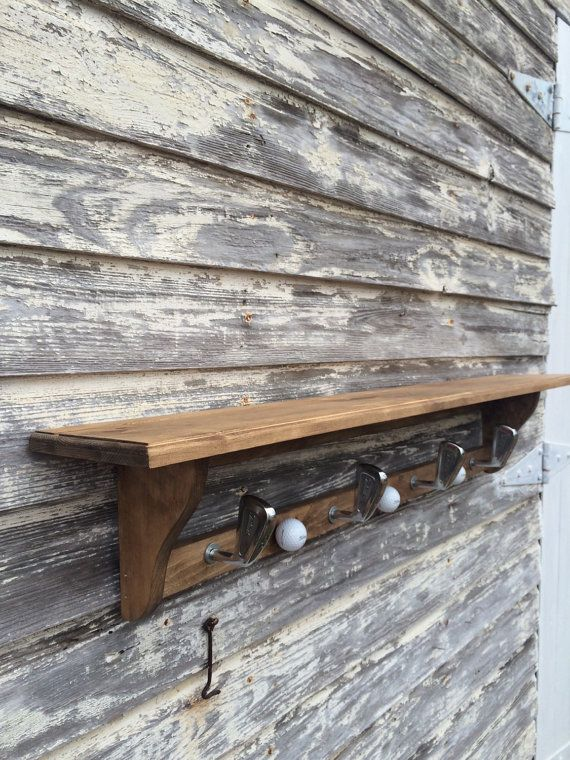 Golf Club Hat Rack/Wood Shelf Coat Rack for by MasonDixonAndDime