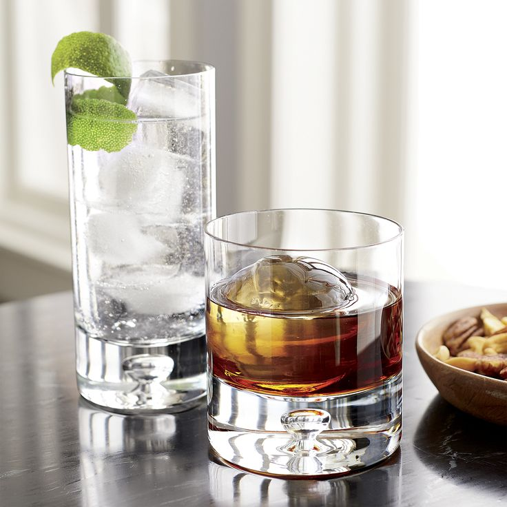 Our most popular barware collection. Sleek, cylindrical shape with a signature open bubble in the hefty sham base.