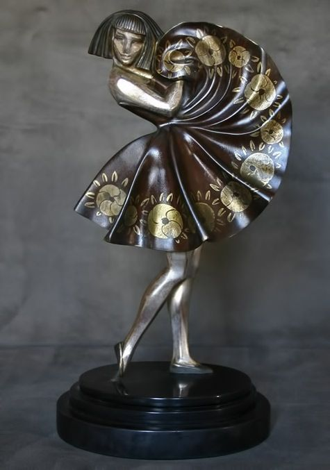 French Art Deco bronze figure by Marcel-Andre Bouraine  circa 1925