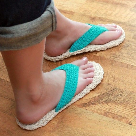 View all Mamachee Patterns here: www.mamachee.etsy.com  **This is a listing for an instant download PDF crochet pattern**  Crochet yourself a fun pair of summer flip flops for around the house or for outside! Instructions are given for how to make a jute soled flip flop for outdoor use. Would make a great gift and make them to sell (see note on selling below)  This pattern includes the following sizes: 3-4 5-6 7-8 9-10  Skill level: Easy. Written in American English crochet terms  Basic…