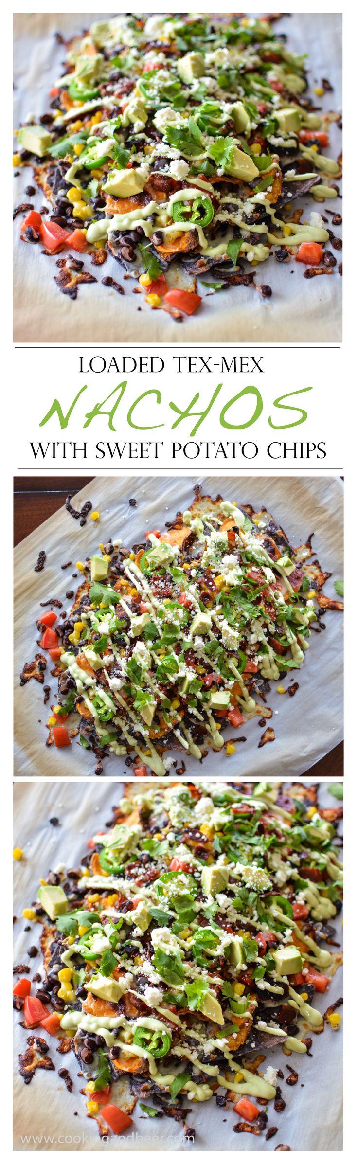 Loaded Tex Mex Nachos with Sweet Potato Chips | www.cookingandbeer.com | @jalanesulia