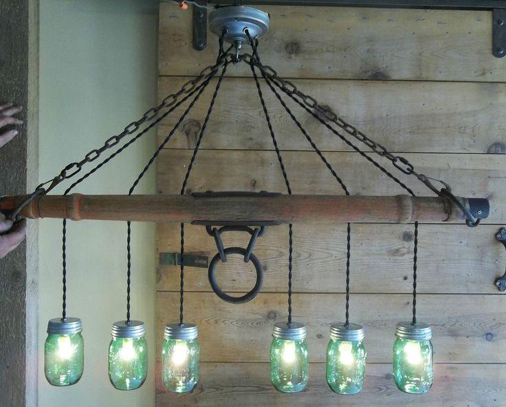 "Original-Horse Drawn Wagon Single Tree Yoke~Mason Jar Light-Chandelier 40""L- #Wearethecreators"