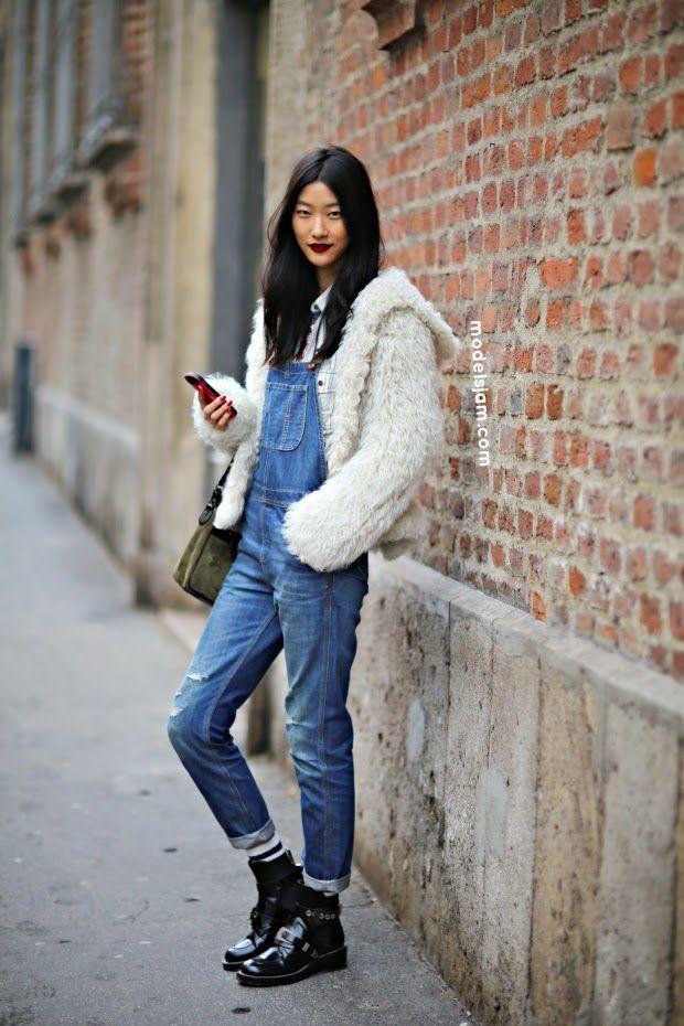 fur, overalls & Balenciaga boots. #JiHyePark killing it #offduty in Milan.