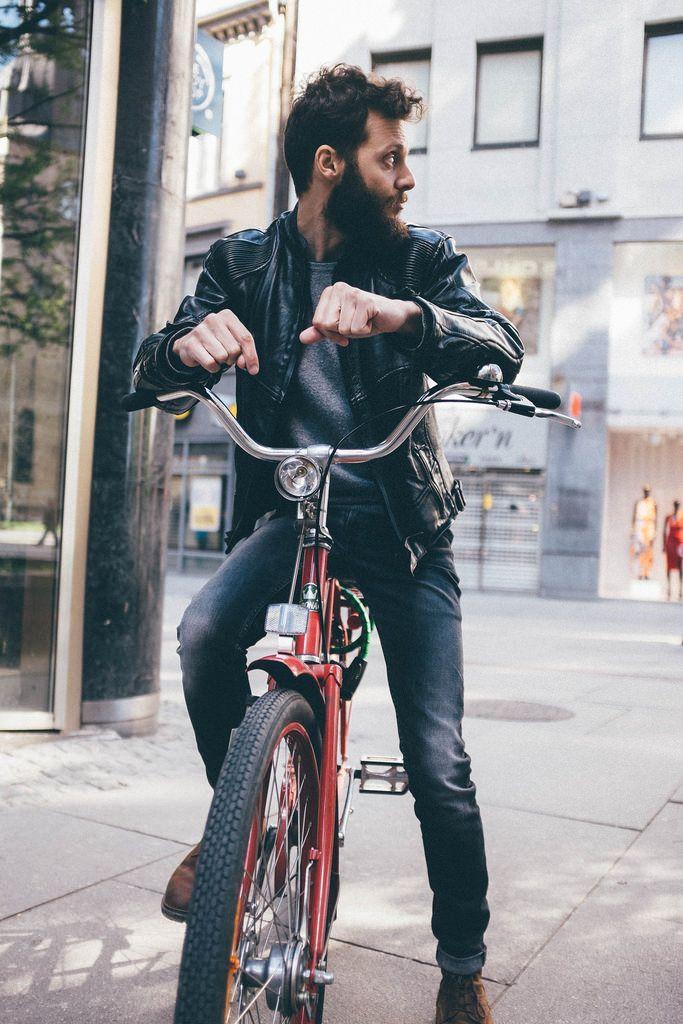 ▲ #man #boy #guy #male #beard #bike #city #town #cruiser #myride #leather #jacket #hair #curly #mariethorsen #streetstyle #