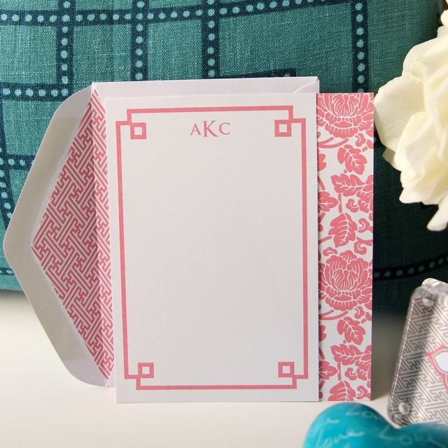Fretwork Note Card Personalized and Lined Envelopes (10). $30.00, via Etsy.