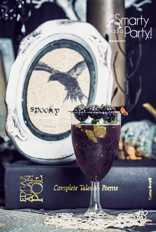 "Edgar Allan Poe theme dinner party drink cocktail called "" The Raven "" blackberry mojito #recipe"