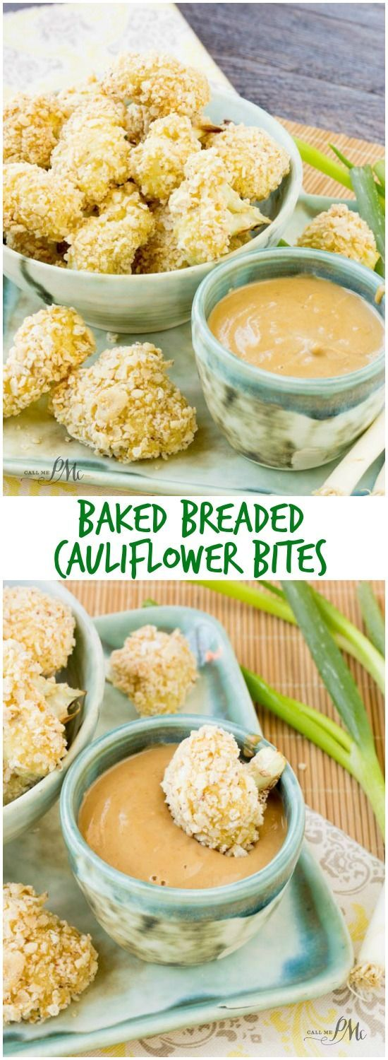Baked Breaded Cauliflower Bites with Sriracha Peanut Butter Sauce is wheat and gluten free, low in calories as well as low in fat. #ad