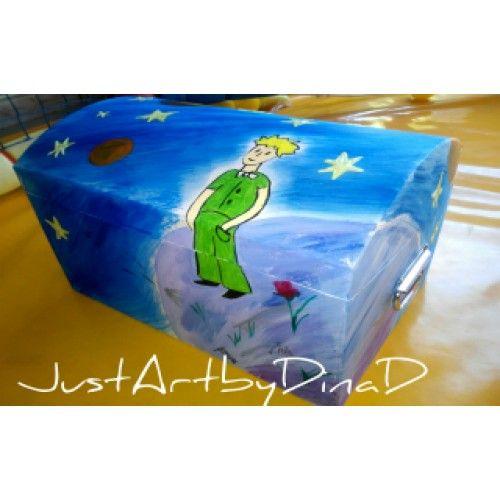 Χαρτινο  ζωγραφισμένο κουτί βάφτισης