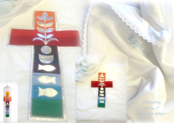 Taufdecke nach Wunsch♥ ..Vorgabe die Motive einer bestehenden Taufkerze....für bis jetzt 2 kindernamen und es sollten noch weitere folgen♥ plus einem Aufbewahgungssack zur sauberen luftigen Lagerung über die Jahre
