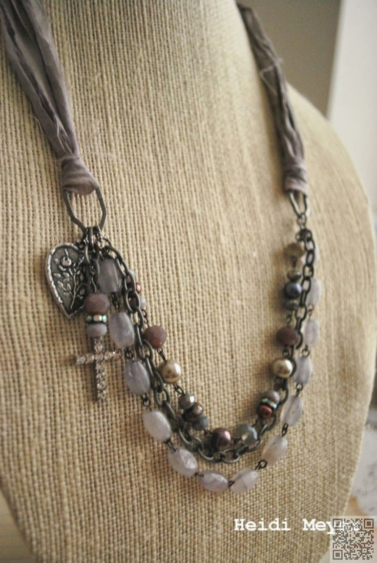 32. #Fabric and Multi #Strands - 39 Fabulous Diy #Necklaces That Will Rock Your World ... → DIY #Button