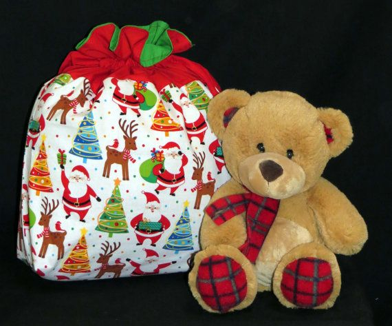 Santa Sack Medium Size Draw String by FairyMeadows on Etsy