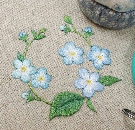 Forget me not - embroidered blue flowers