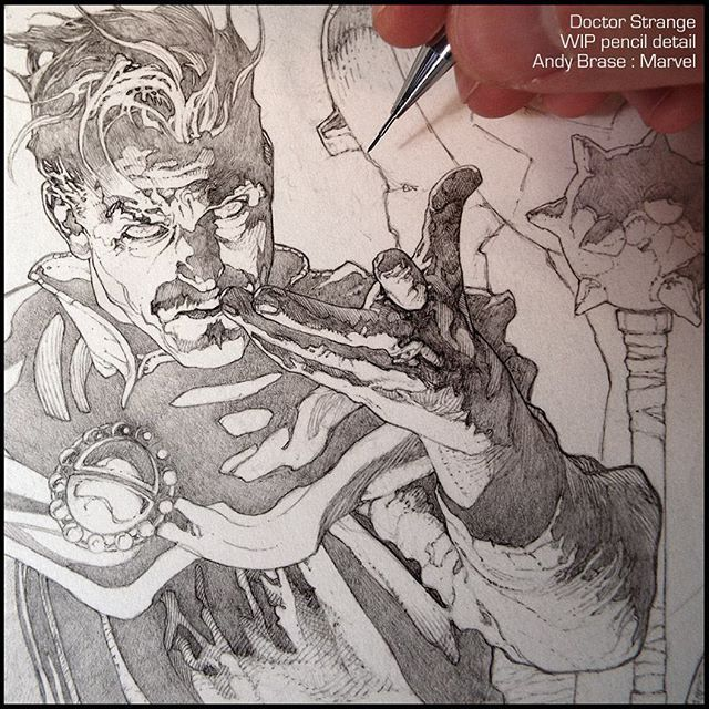 Doctor Strange: New Cover art for Marvel |  WIP pencil detail  #andybrase #pencil #drawing #wip #doctorstrange #marvel #comics #coverart #sorcerersupreme #darkfantasy #magic