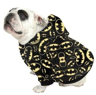 Batman Bulldog Hoodie, click or dial 1-844-446-4DOG for dog coats, gifts, and supplies that donate to help feed shelter dogs in the USA.