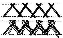 COMPOSITE STITCHES: vocabulary 6: Laced Herringbone stitch-design by Mrs. A.Christie