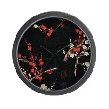 Oriental Dogwood in Black Wall Clock